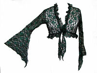 Dark Star Plus Size Gothic Black And Green Lace Floral Shrug L Xl 1x 2x