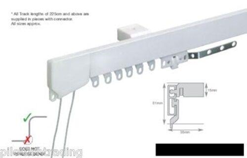 In metallo con filo bianco bianco bianco in alluminio per tende BINARI RAIL 150cm - 500cm pieghe DIRITTE Bay 0fcabf