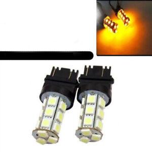 2Pcs Amber 18 SMD 5050 3157 LED Reverse Back Up Brake Stop Turn Tail Light Bulbs
