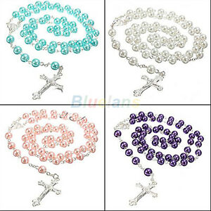 LONG-ROSARY-IMITATE-PEARL-BALL-PENDANT-NECKLACE-PRAYER-BEADS-CHAIN-SILVER-CROSS