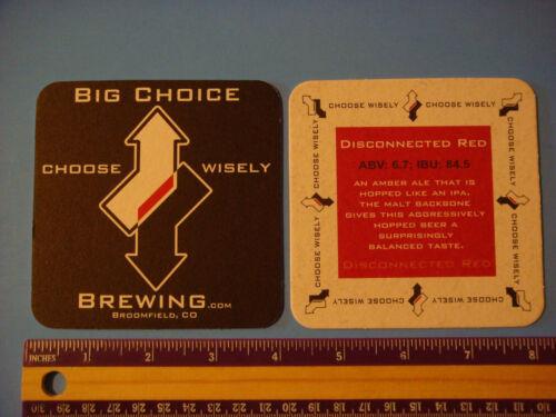 COLORADO ~ Choose Wisely Beer Brewery Coaster ~ BIG CHOICE Brewing ~ Broomfield