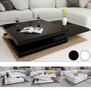Details About Rotating Coffee Table High Gloss Layers Modern Living Room Furniture Lounge Mdf