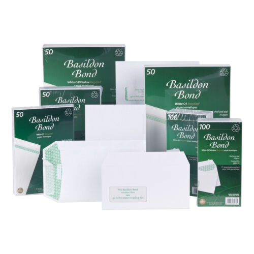 Basildon Bond Envelopes Recycled Wallet Peel and Seal 120gsm DL White