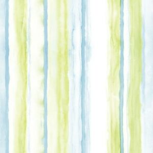 Beachy blue and lime green watercolor stripe on white - Lime green and white wallpaper ...