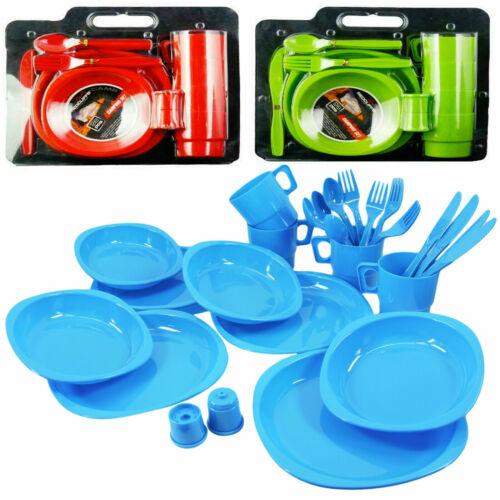 Grand Plastique Picnic Camping Party Dinner Plate Tasse Set de Couverts Boîte de rangement
