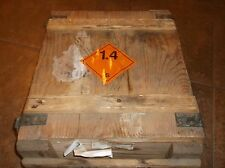 VIntage Military WOODEN Rocket AMMUNITION Crate BOX EXPLOSIVE Projectile Metak