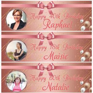 2-Striscione-di-compleanno-personalizzata-foto-Oro-Rosa-Adulti-Bambina-Festa-Pallone-POSTER