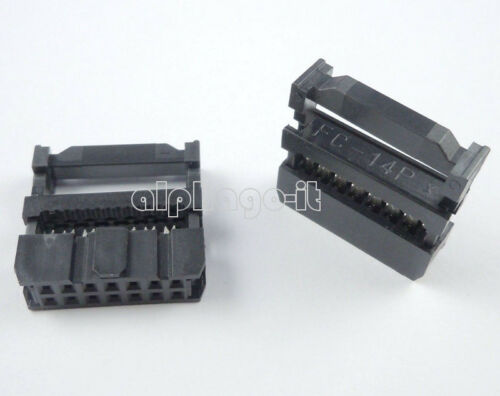 10PCS 14Pin 2x7 2.54 Pitch IDC FC-14 Female JTAG Socket ISP Connector Flat Cable
