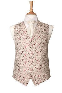 Mens ruby wine ivory cresent wedding dress suit waistcoat s m l xl 2xl