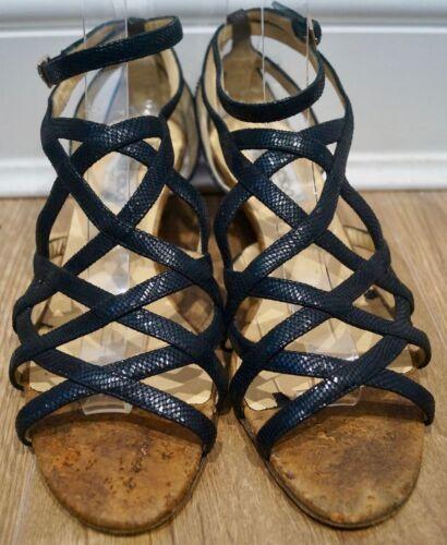 con 41 e Scarpe con zeppa pelle Jimmy sandali in nera zeppa con texturizzata Choo zeppa scamosciata EYqxC5wpZ