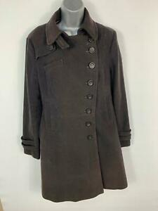 WOMENS-NEXT-BLACK-SMART-CASUAL-LONG-BUTTON-UP-WINTER-OVERCOAT-JACKET-SIZE-14