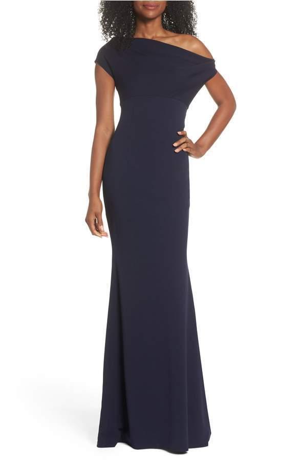 NEW KATIE KATIE KATIE MAY HANNAH Navy bluee One-Shoulder Crepe Trumpet Gown Hannah Size 2 8cd7c7