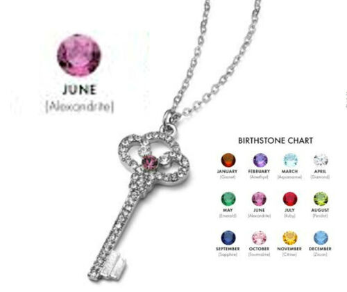 """NEW~BIRTHSTONE KEYRING NECKLACE BY PARK LANE~GIFT WRAPED WITH /""""SIGN/"""" DESCRIPTION"""