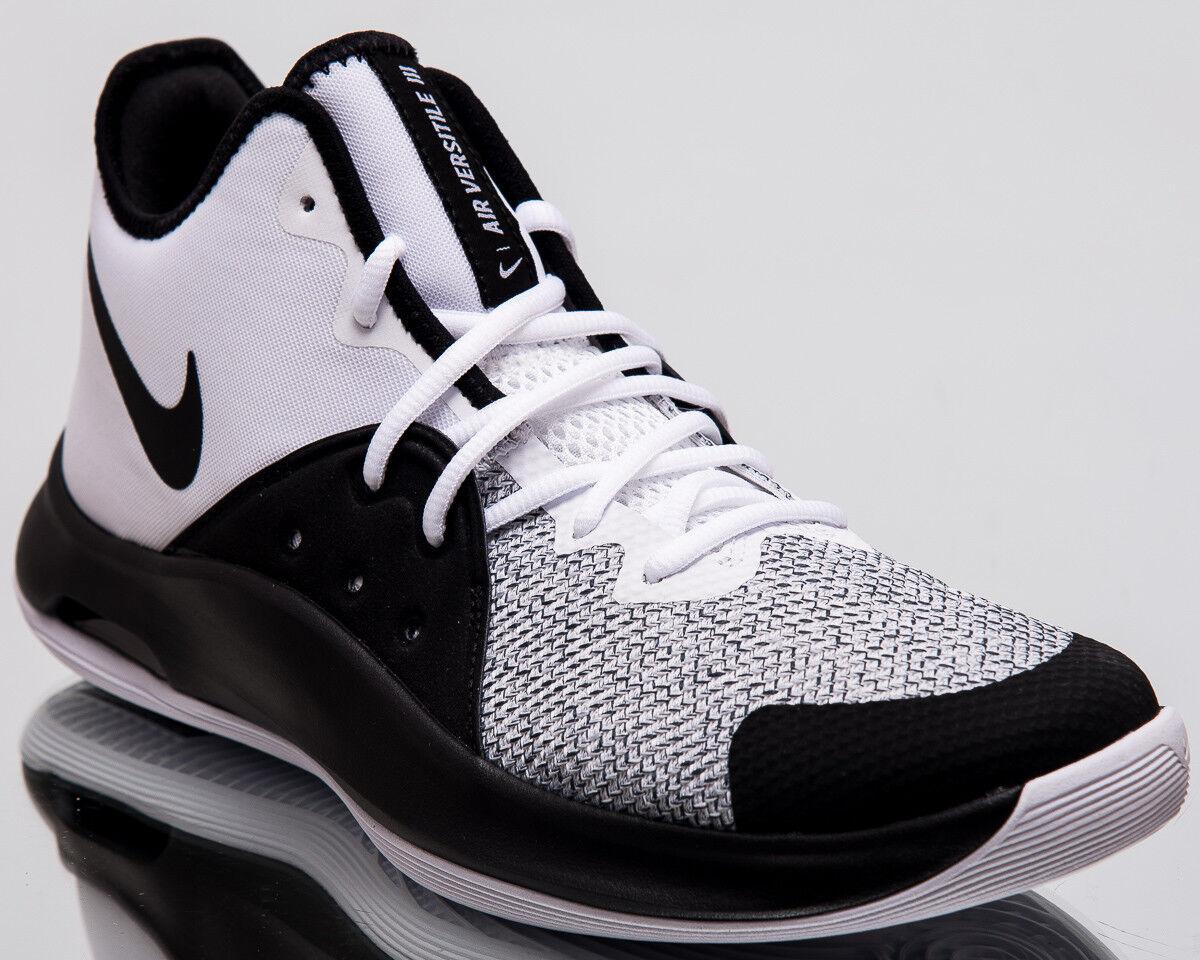 Nike Luft Vielseitiger III Herren Neu Weiß Schwarz Grau Basketball Turnschuhe