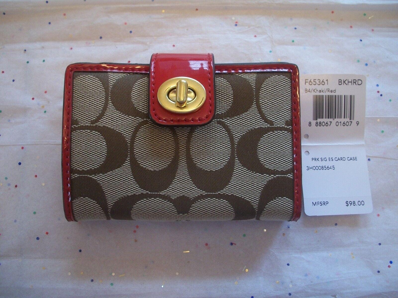 COACH PARK SIGNATURE RED KHAKI TURNLOCK CARD CASE 65361 NWT BEAUTIFUL!!