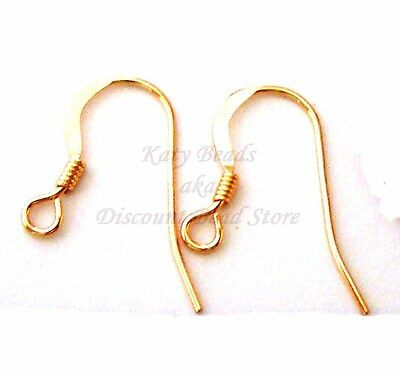 20pcs 14k Gold Filled flat with coil earring Ear Wire French hook Earwire GE31