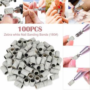 100Pcs Nail Sanding Bands Machine for Manicure Pedicure Drill Bits File 180 Grit