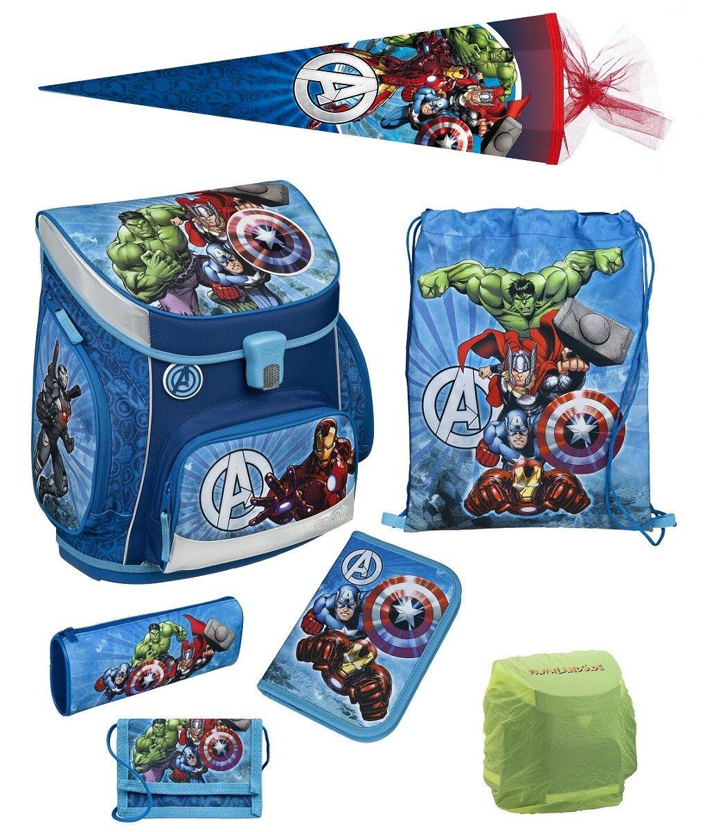 Avengers Schulranzen Set 7tlg. Scooli Schultüte blau Marvel Helden HULK THOR | Garantiere Qualität und Quantität  | Stilvoll und lustig  | Perfekte Verarbeitung