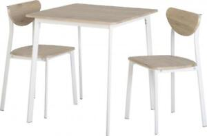 Riley Small Dining Set Table 2 Chairs In White Light Oak Effect