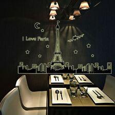 Paris Eiffel Tower Airplane Skyline Art Deco Wall Vinyl Decal Sticker For Home