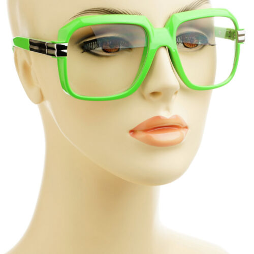 Old School Retro Clear Lens Square Mens Womens Aviator Glasses Frames Green