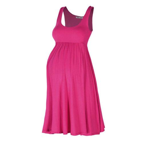 Pregnant Women Solid Stripes Summer Casual Sleeveless Maternity Short Tank Dress