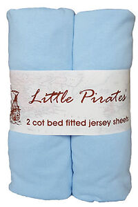 2-x-Baby-Cot-Bed-Fitted-sheet-70x140-100-cotton-jersey-BNIP-Blue