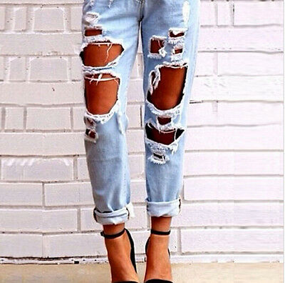 Women Sexy Ripped Jeans Summer Big Holes Slim Pencil Solid Washed Demin Pants