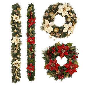 CHRISTMAS-WREATHS-AND-GARLANDS-CHRISTMAS-DECORATIONS-ARTIFICIAL-FLOWERS
