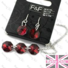 RED CRYSTAL jewellery SET earrings NECKLACE silver fashion pendant chain BNWT
