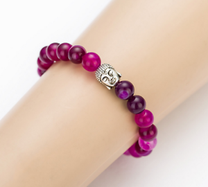 Purple-Red-natural-stone-Buddha-bracelet-Increase-positive-energy