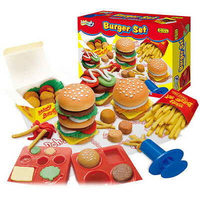 Cute Hamburger Play Dough Mold Set Potato Chips Chicken Nuggets Clay Mode Tools