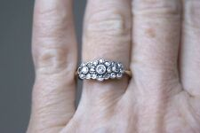 FINE ANTIQUE EDWARDIAN 18 CT Y&W GOLD DIAMOND TRIPLE CLUSTER DAISY RING N 2.7G