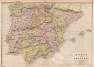 Map Of Portugal Spain.Iberia Spain Portugal Provinces Scale In Spanish Portuguese