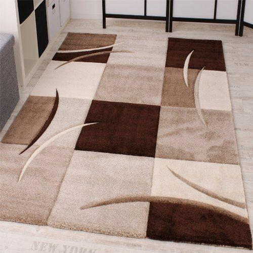 Designer Tapis Carreaux Motif Séjour Marron Beige épais Salle De Séjour Motif Tapis Petit Large d593d2