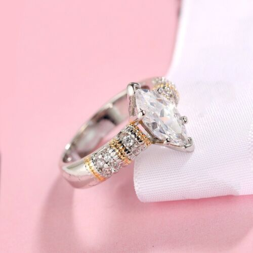 Marquise Cut White Sapphire 925 Silver Wedding Ring Gold/&Silver Plating Sz 6-10