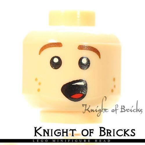 LEGO Minifigure Head LIGHT FLESH Male Brown Eyebrows Orange Freckles Singing