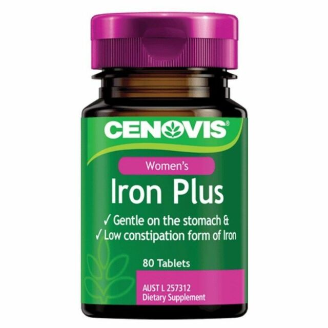 CENOVIS IRON PLUS 80 TABLETS FOR WOMEN DIETARY SUPPLEMENT FOR LOW IRON LEVELS