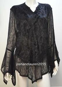 PLUS-SIZE-BOHO-EMBROIDERY-CHIFFON-CRUSHED-VELVET-TUNIC-TOP-BLACK-16-18-20-22-24