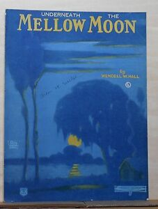 Underneath-The-Mellow-Moon-1922-sheet-music-blue-tinted-night-scene-on-cover