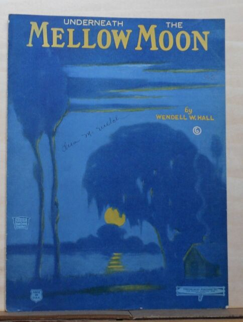 Underneath The Mellow Moon - 1922 sheet music - blue tinted night scene on cover
