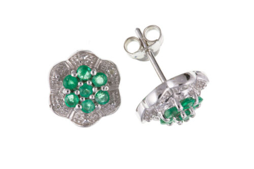 Sterling Silver Real Emerald /& Diamond Cluster Stud Earrings New