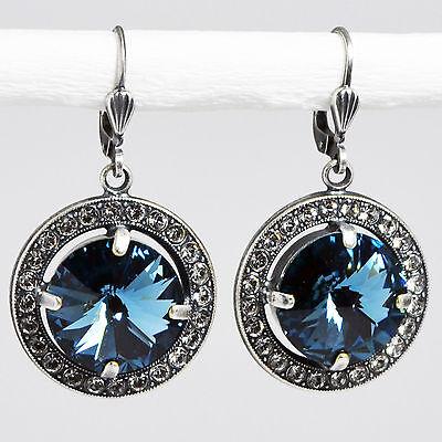 Grevenkämper Ohrringe Swarovski Kristall Rund Pavé Vintage blau Denim Blue