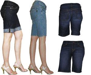 Women-Quality-Stretch-Jean-Denim-Knee-Shorts-Size-8-9-10-11-12-13-14-15