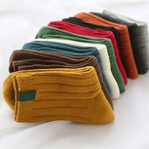Winter-Autumn-Thick-Solid-Color-Warm-Christmas-Cotton-Stocking-Socks-Hosiery