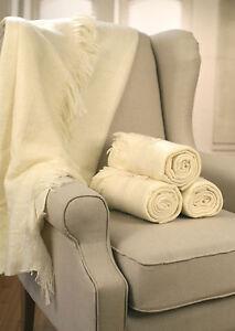 Throw Rug Soft Touch Throw Blanket Decorative Bedding Blanket 127x150cms - CREAM
