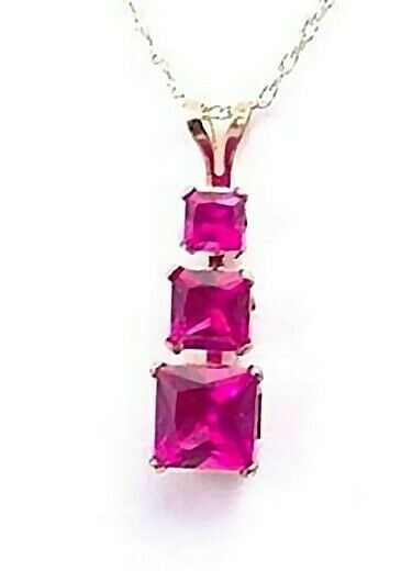 Ruby Necklace Yellow Gold 3 Stone Created 1.2 ct Red Brand New