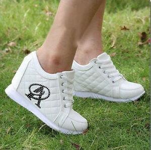 b6d34241e1e9a1 New Women s Fashion Hidden Wedge Heels Casual Shoes Increased High ...