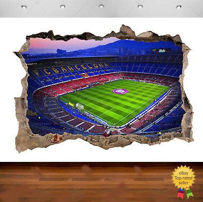 Nou Camp Barcelona Stadium Football 3d Smashed Wall View Sticker Poster Art 699 Ebay