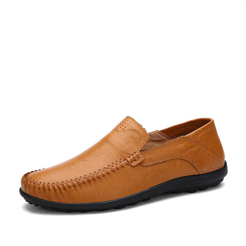 Mens Leather Casual Slip On Loafers Driving Boat shoes Moccasins Anti-Skip Vogue